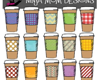 Coffee Cup Clip Art in Color or Black Line