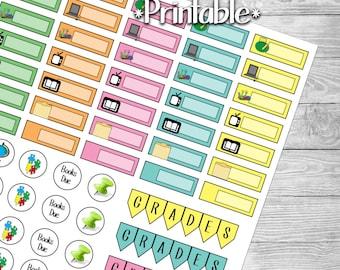 Homeschool and Teaching Reminder Planner Stickers- Printable- Digital File