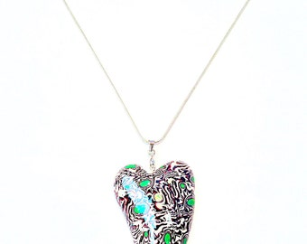 Quirky love heart pendent and sterling silver rope chain
