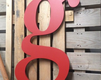 Fixer Upper style | Big wooden lower case letter g | wall art | wall hanging | modern farmhouse decor |  choose color | choose any letter