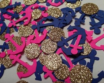Hot Pink & Blue Anchor Confetti   Nautical Theme   Nautical Baby Shower   Bachelorette Party Decor