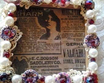 """VINTAGE JEWELED frame with lace 6""""x 6"""""""