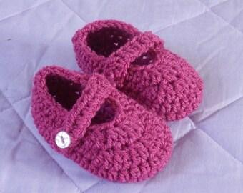 Crochet Dark Pink Mary Jane Baby Shoes