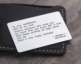 Wallet Insert Card - Metal Wallet Insert - Father's day gift - Long Distance Relationship - Anniversary, Wedding Gift