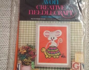 Vintage 1974 Avon Needle Point / Crewel Embroidery Kit - Creative Needlecraft. Pals on Parade. Mouse, turtle, ladybug kit. Crewel Kit
