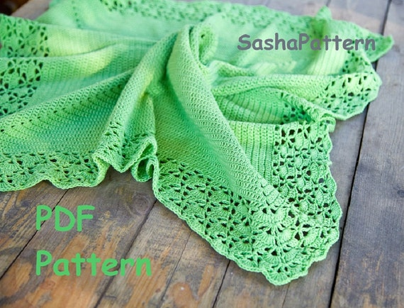 Crochet Blanket Pattern With Shell Lacy Border Square Baby