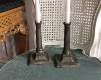 Gustavian candleholders in pewter