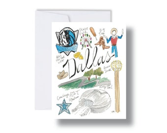 Dallas Icons Map-Note Cards or Print