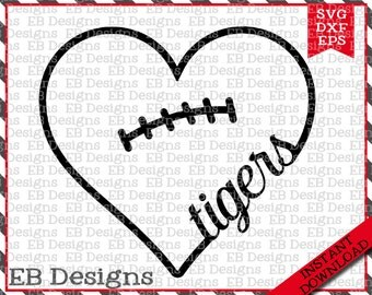 Tiger Football SVG DXF EPS Cutting Machine Files Silhouette Cameo Cricut Valentine Vinyl Cut File Valentine Vector svg file