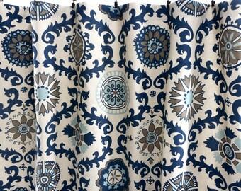 Indigo  Curtains. Indigo window curtain. Rosa Medallion Panels. Cotton.unlined.Designers. Choose size