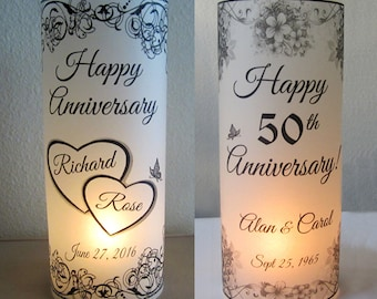 15 Personalized Anniversary Luminary flower Party Table Decoration