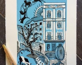 Original Hand Printed Linocut - The Mill