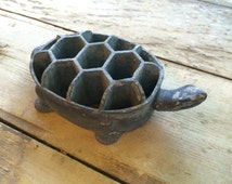 Large Turtle Flower Frog, Collectible Flower Frog, Flower Arranging Supplies, Metal