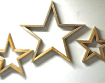 Set of 3 Salvaged Wood Rustic Large 5 Pointed Stars Reclaimed Barn Wood  Wall Decor Self Display Handmade Texas Stars Cutomizable