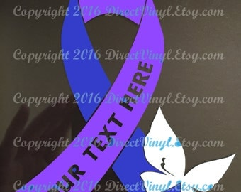 Blue And Purple Awareness Text Ribbon With Butterfly Window Decal (Pediatric Stroke, Rheumatoid Arthritis, Juvenile Arthritis))