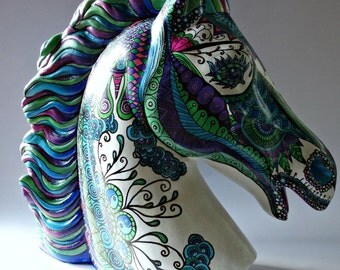 Ceramic Horse Head In Zentangle-Zendoodle Style-Horse Head Bust Hand Painted And Restored-Horse Head Sculpture-Stallion Bust-Horse Figurine