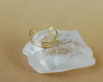 22k solid gold double ear-cuff