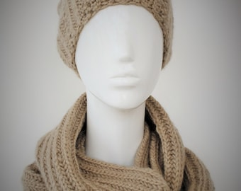 BIG SALE, Knit Hat and Scarf Set, Chunky Knit Set, Beige Hat, Beige Scarf, Womens Winter Accessories, Womens Cable Knitted Cowl and Hat Set