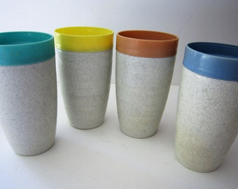 4 Vintage Cornish Therm-O-Tumblers ~ Nice summer colors!