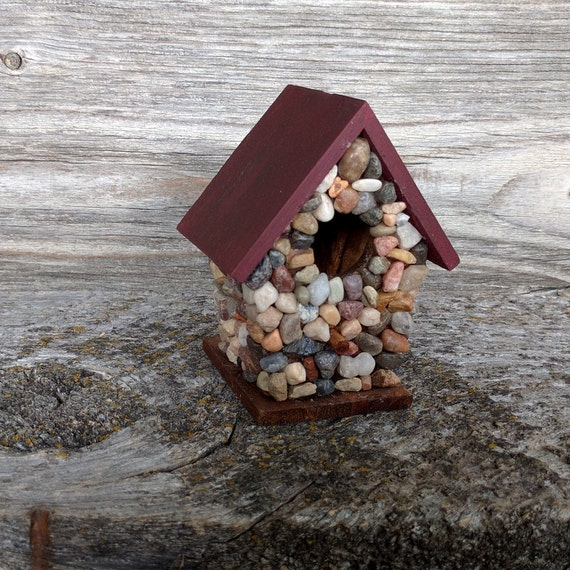 Miniature Stone Birdhouse Indoor Decor River Rock