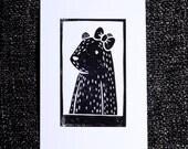Lady Bear Portrait - Unique 1-Colour Linoprint
