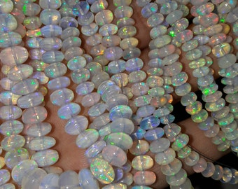 70 Cts'' 17 Long Full Strand, LARGE Size, Natural Ethiopian OPAL Smooth Rondelles, Extra Size 8-5MM