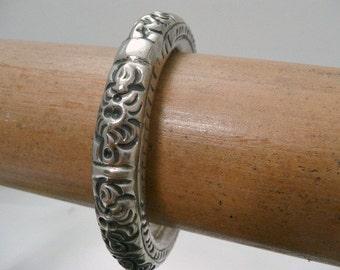 Antique Chinese Silver Bangle Bracelet // Repousse Chased Paktong Wedding Bracelet