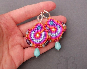 Multicolour optimistic earrings soutache