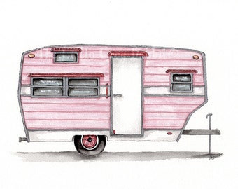 Vintage Trailer, Original Watercolor, Travel Art, Pink Decor, Retro Art, Girls Room Decor, Travel Trailer, RV Art, Camper Painting