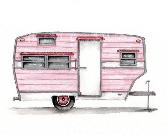 Vintage Trailer Original Watercolor Travel Art Pink Decor