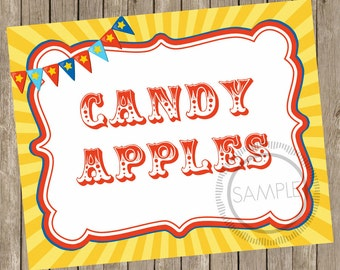 8x10 Candy Apples Carnival / Circus Printable / Sign *INSTANT DOWNLOAD*
