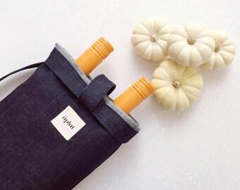Vin Vertical Wine Tote // shoulder bag // raw denim // two bottles wine carrier // fresh baguette // fresh flowers // perfect host gift