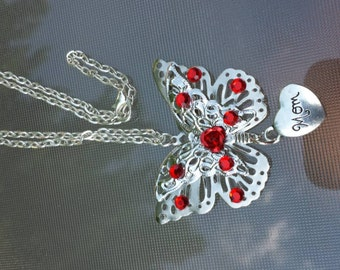 Butterfly 3D red pendant