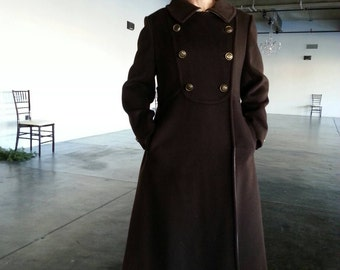 """1960s Vintage chocolate brown and oatmeal long coat fine tailored double breasted trench / gold buttons, back flap /Fits S/M Bust 40""""/102cm"""