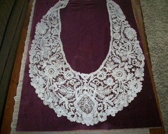 Point de Gaze mixed lace collar 1800s heirloom hand done #306