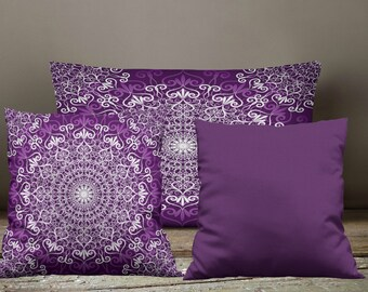 Boho Chic Purple Mandala Throw Pillows , Square , Rectangle , Many sizes