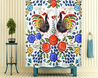 Shower Curtain Country Folk Art Chicken Floral