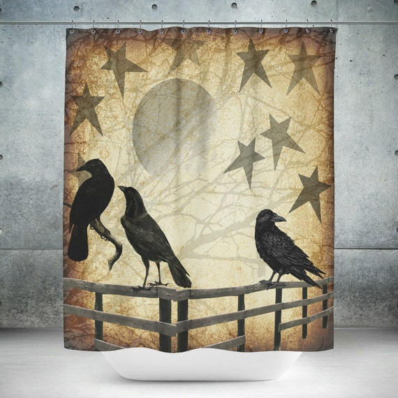 Primitive Grunge Shower Curtain Rustic Crows And Stars