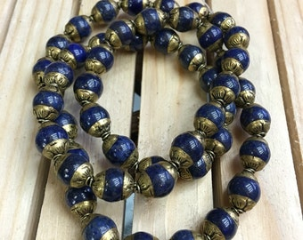 Lapis cap beads (50pc)
