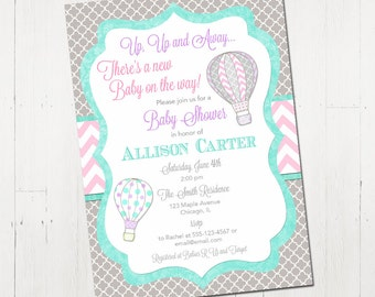 Hot air balloon baby shower invitation, up up and away baby shower, pink mint grey, girl baby shower invitation, digital, printable