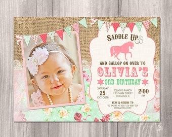 Horse birthday invitation, Horse invitation, shabby chic invitation, pony invitation, horse party, western invitation, Printable Invitation