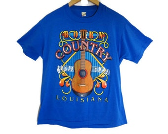 Vintage Screen Stars Louisiana Born Country Tee - Medium - Country and Western - Acoustic Guitar - Country Music - USA - Vintage Tees -