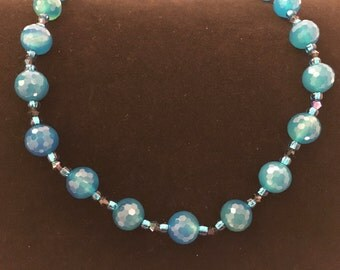 Blue Agate Bead Necklace, Bright Blue Agate Necklace W/ Swarovski Crystals