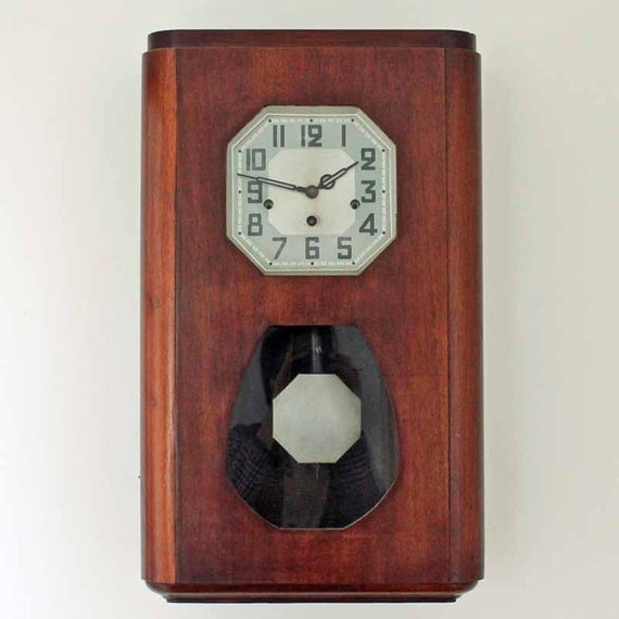 Antique Art Deco Wall Clock French Wood Cased Wall Clock