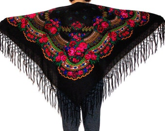 Huge black shawl with fringes/ Pavlovo Posad shawl Vintage Russian Shawl/ Ukrainian Shawl Folk Scarf with Tassels / Shawl with Fringes Roses