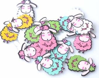 Sheep Wooden Button ( set of 5)