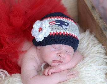 Crochet Football Hat, Baby Football Hat, Crochet Beanie Hat in New England Gray and Blue - Baby Photos - Newborn and Baby Sizes Available