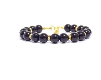 Black beaded bracelet, black pearl bracelet, pearl bracelet, black and gold pearl bracelet, beaded bracelet