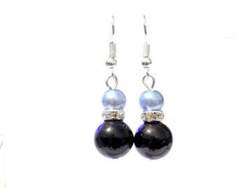 Black and light blue pearl earrings, sky blue pearl earrings, black pearl earrings, pearl earrings, earrings, dangle earrings, drop earrings