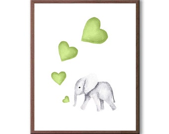 Boys Nursery Wall Art, Kids Room Painting, Elephant Decor, Watercolor Wall Art, Art Print - E204